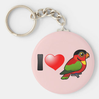 I Love Yellow-bibbed Lories Basic Round Button Keychain