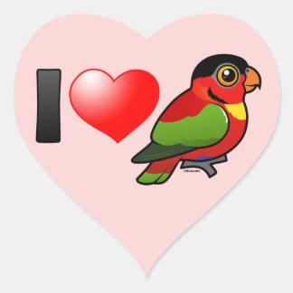 I Love Yellow-bibbed Lories Heart Sticker