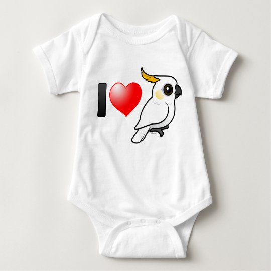 I Love Yellow-crested Cockatoos (down) Baby Bodysuit