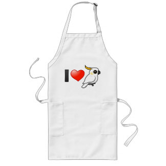 I Love Yellow-crested Cockatoos (down) Long Apron