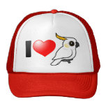I Love Yellow-crested Cockatoos (down) Mesh Hat