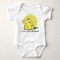 I Love Yellow Elephants Baby Bodysuit