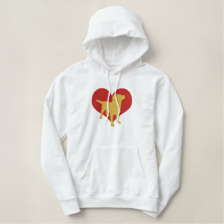 I Love Yellow Labradors Embroidered Hoodie