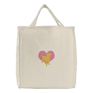 I Love Yellow Labradors Embroidered Tote Bag