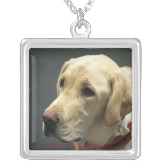 I love Yellow Labradors Square Pendant Necklace