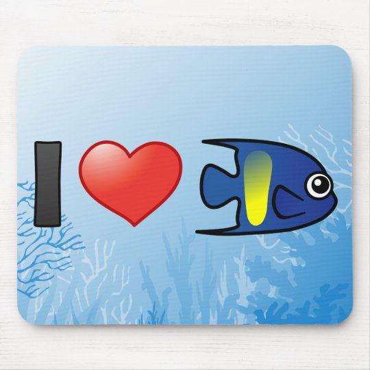 I Love Yellowbar Angelfish Mouse Pad