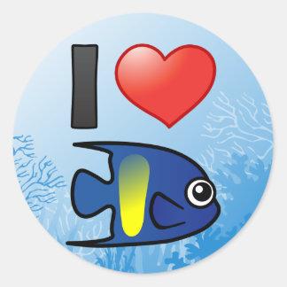 I Love Yellowbar Angelfish Stickers