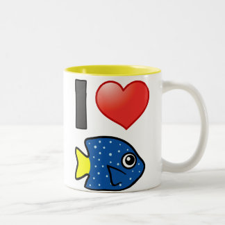 I Love Yellowtail Damselfish Two-Tone Coffee Mug