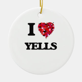 I love Yells Double-Sided Ceramic Round Christmas Ornament