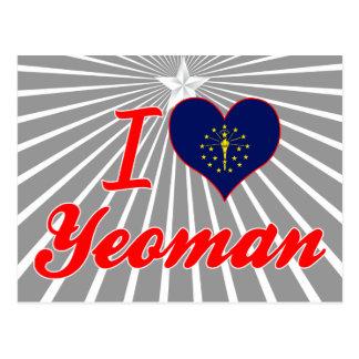 I Love Yeoman Indiana Post Card