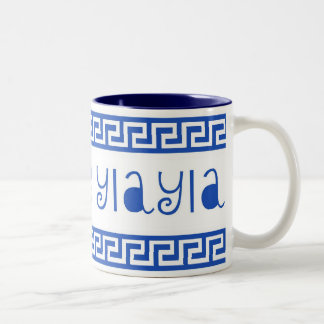 I LOVE YIAYIA GREEK KEY Two-Tone COFFEE MUG