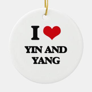 I love Yin and Yang Round Ceramic Ornament