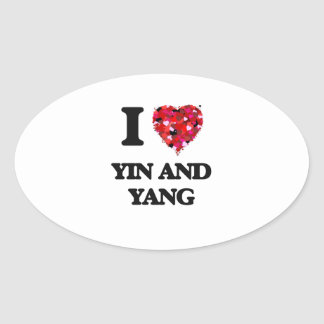 I love Yin and Yang Oval Sticker