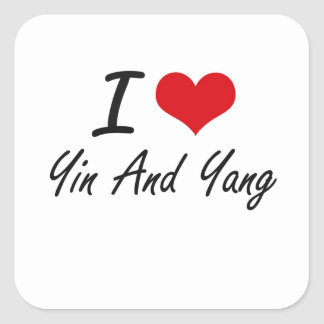 I love Yin and Yang Square Sticker