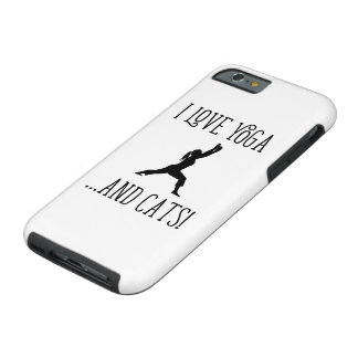 I love Yoga and Cats Black Letters iPhone Case