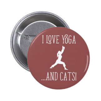 I love Yoga and Cats for Dark Background Badge Button
