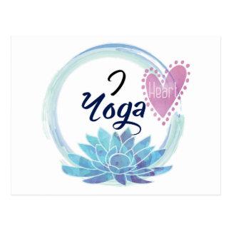 I Love Yoga Art Postcard