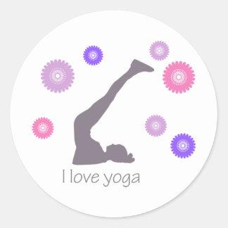 I Love Yoga cool design! Classic Round Sticker