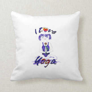I Love Yoga-Girl in Lotus Pose Throw Pillow