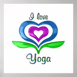 I Love Yoga Hearts Poster