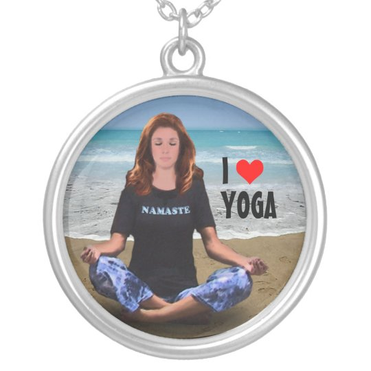 I love Yoga Silver Plated Necklace