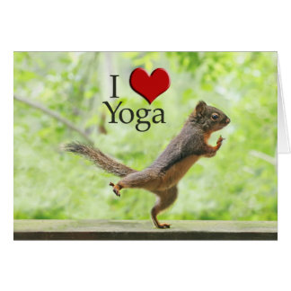 I Love Yoga Squirrel Card