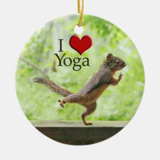 I Love Yoga Squirrel Ceramic Ornament