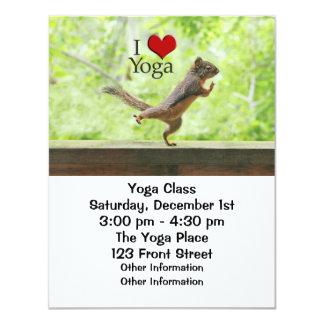 I Love Yoga Squirrel Personalized Invitations