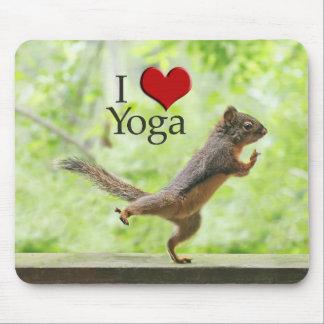 I Love Yoga Squirrel Mousepads
