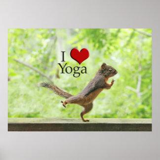 I Love Yoga Squirrel Poster