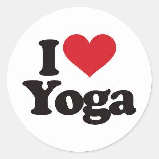 I Love Yoga Round Stickers