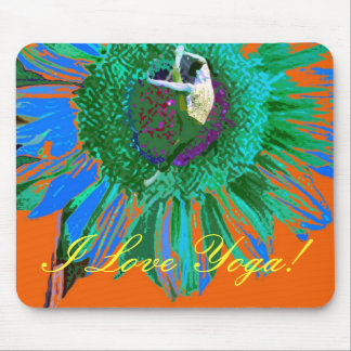 I LOVE YOGA, SUNFLOWER, FLORAL BRIGHT YOGA POSTURE MOUSE PAD
