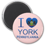 I Love York, PA 2 Inch Round Magnet