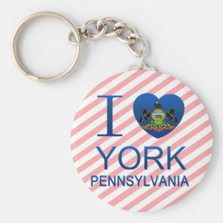 I Love York, PA Basic Round Button Keychain