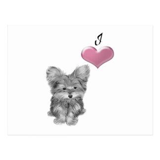 I Love Yorkie Dog Cute Art  Design Postcard