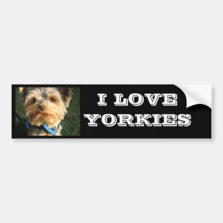 I Love Yorkies Car Bumper Sticker