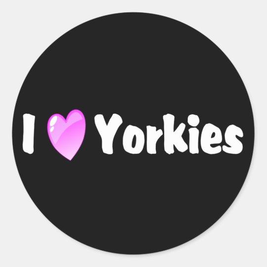 I Love Yorkies Classic Round Sticker