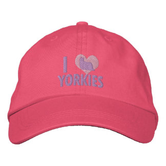 I Love Yorkies Pink Embroidered Baseball Cap
