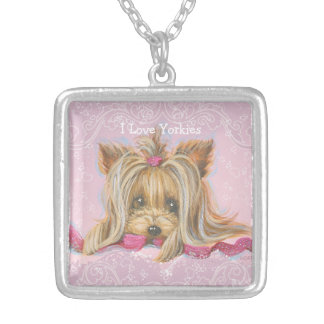I Love Yorkies Silver Plated Square Necklace