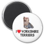 I Love Yorkshire Terriers Fridge Magnets