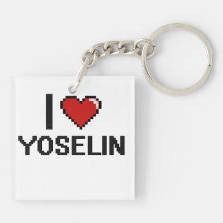 I Love Yoselin Digital Retro Design Double-Sided Square Acrylic Keychain