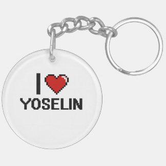 I Love Yoselin Digital Retro Design Double-Sided Round Acrylic Keychain