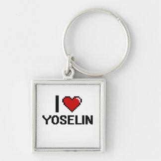 I Love Yoselin Digital Retro Design Silver-Colored Square Keychain