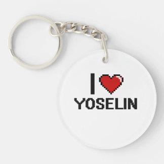 I Love Yoselin Digital Retro Design Single-Sided Round Acrylic Keychain