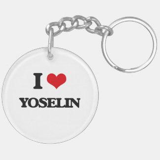 I Love Yoselin Double-Sided Round Acrylic Keychain