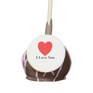 """I Love You"" 12 Chocolate Cake Pops with Chocolate"