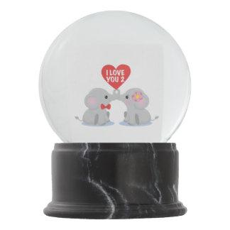 I love you 2 elephants snow globe