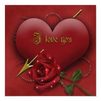 I Love You 5.25x5.25 Square Paper Invitation Card