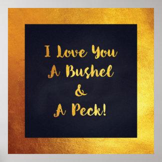 I love you a bushel and a peck gold navy art print