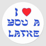 """I Love You a Latke Classic Round Sticker<br><div class=""""desc"""">Great Chanukah gift to tell somebody how much you love them with a play on words with Latke!</div>"""